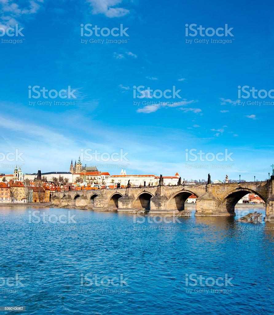 Charles Bridge, St. Vitus Cathedral and historical Prague royalty-free stock photo