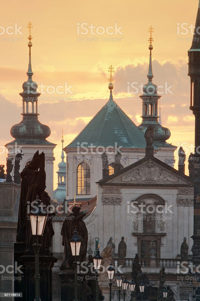 charles bridge, towers of the old town royalty-free stock photo