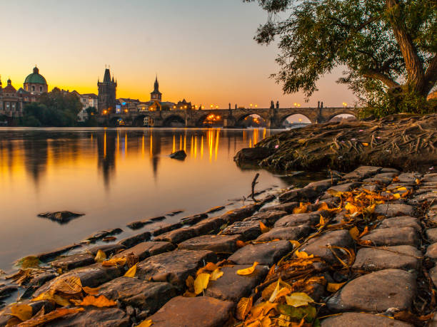 charles bridge with old town bridge tower reflected in vltava river at morning sunrise time, prague, czech republic - czech republic stock pictures, royalty-free photos & images