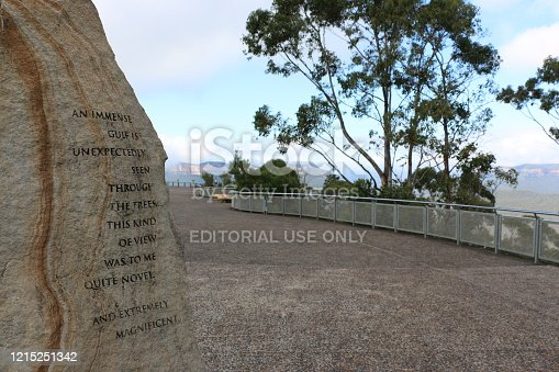 Quote found on the right hand side of the Echo-Point lookout, Katoomba, Blue Mountains, Australia. 'An immense gulf is unexpectedly seen through trees. This kind of view was to me quite novel and extremely magnificent.' Charles Darwin, The Voyage of the Beagle (1836)