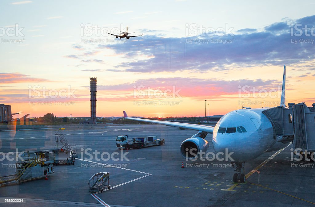 Charles De Gaulle International Airport in Paris at sunrise stock photo