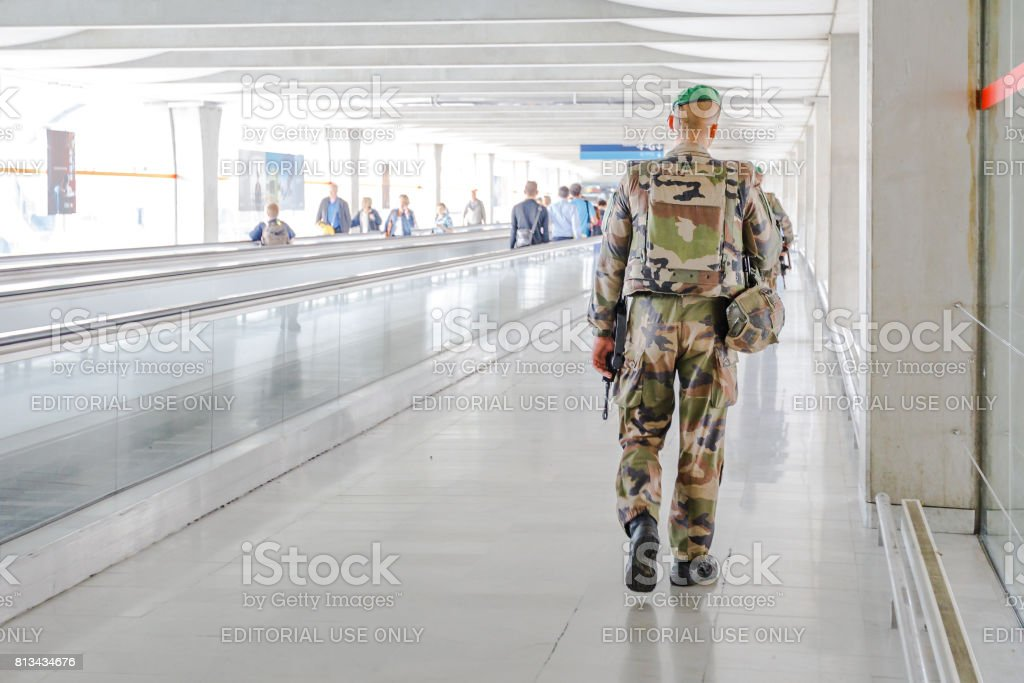 Charles De Gaulle security stock photo