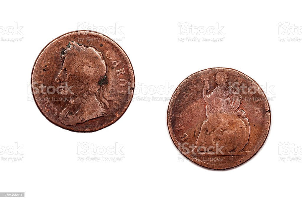 Charles II Penny 1675 Britain stock photo