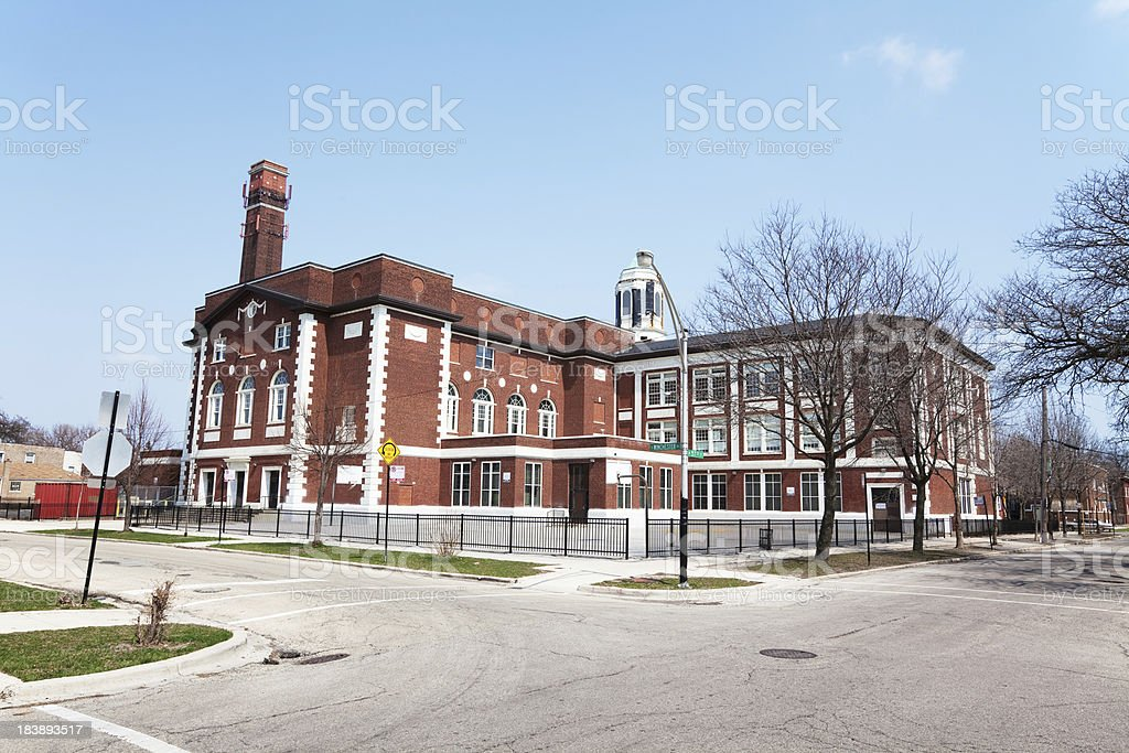 Charles R Henderson Elementary School in West Englewood, Chicago royalty-free stock photo