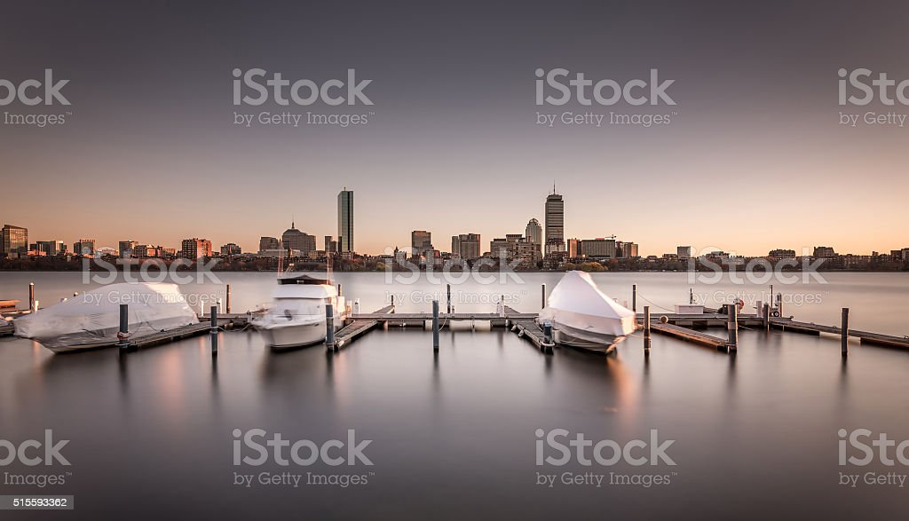 Charles River and Back Bay, Boston Massachusetts USA stock photo