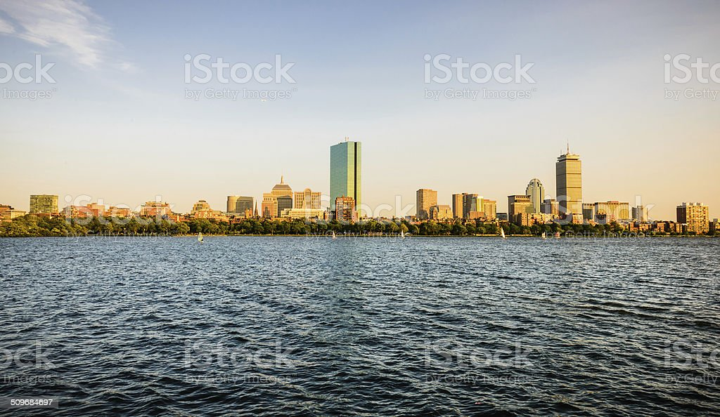 Charles River and Boston Skyline stock photo