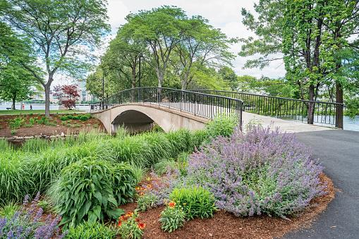 Stock photograph of Charles River Esplanade park in Back Bay Boston Massachusetts USA