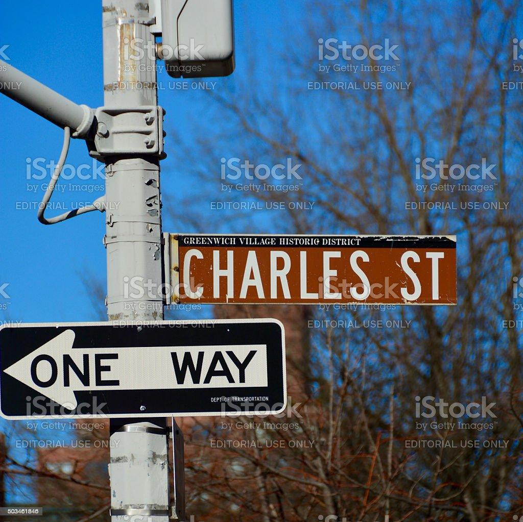 Charles street street sign west village Manhattan New York stock photo