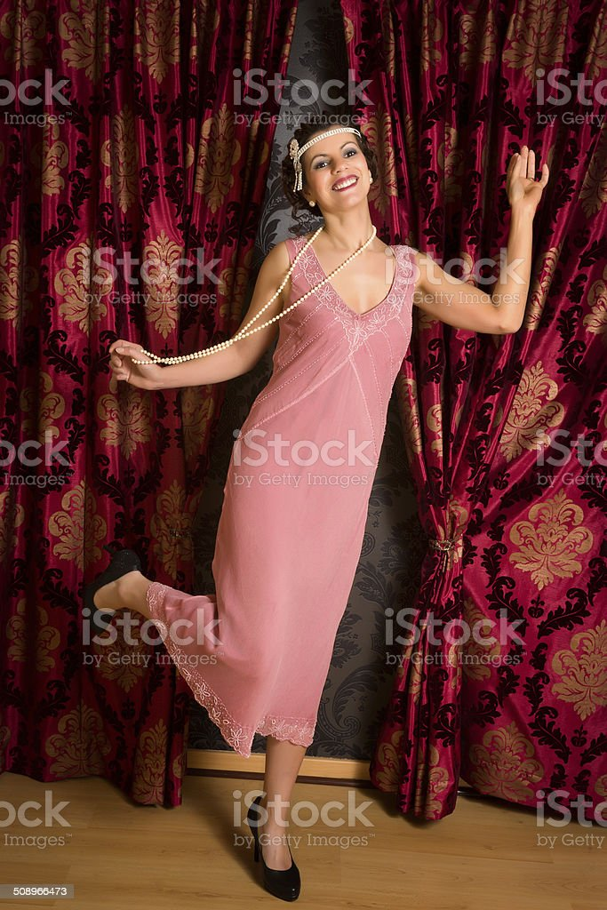Charleston dancing in flapper dress stock photo
