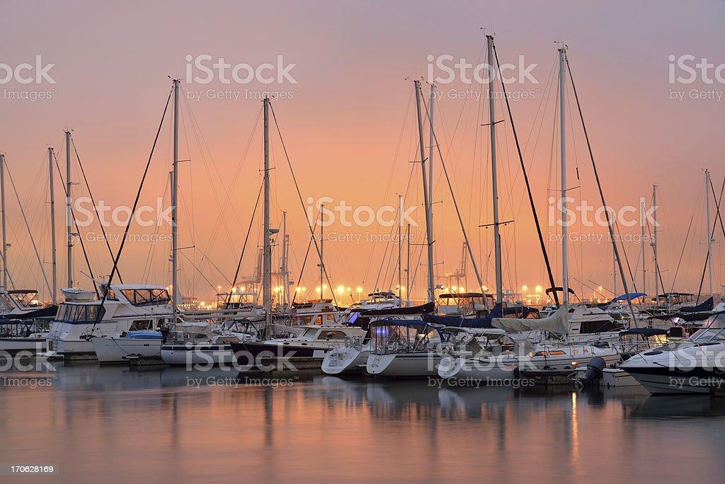Charleston Harbor Marina at Sunset royalty-free stock photo