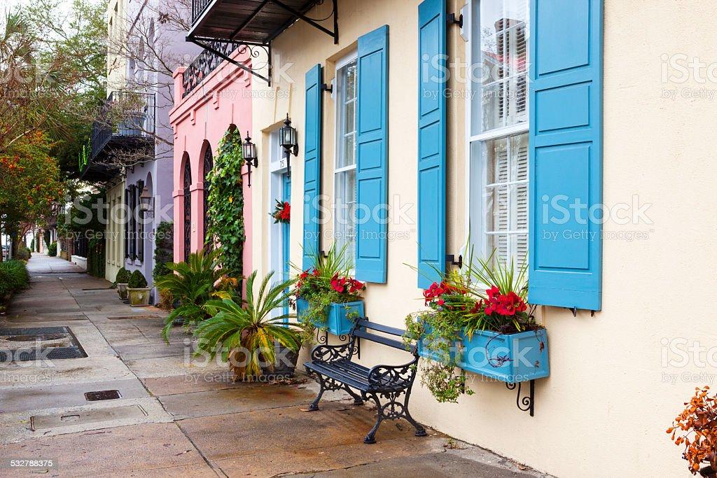 Charleston Historic Bay Street. stock photo