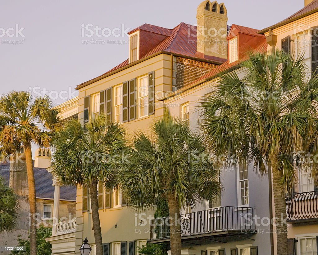 Charleston: Historic Houses on Bay Street at Dawn royalty-free stock photo