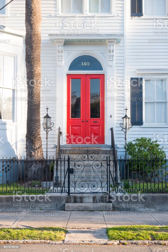 Charleston House with Red Front Door Entrance Carolina Architecture Detail royalty-free stock photo & Charleston House With Red Front Door Entrance Carolina Architecture ...