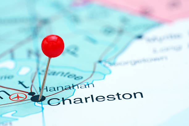 charleston pinned on a map of usa - charleston sc map stock photos and pictures