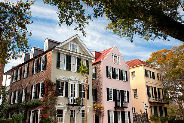 Charleston SC Rainbow Row  south carolina stock pictures, royalty-free photos & images
