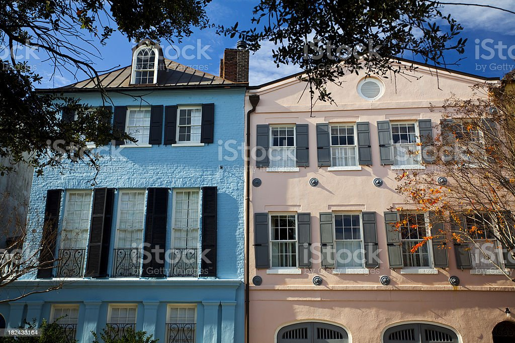 Charleston SC Rainbow Row royalty-free stock photo