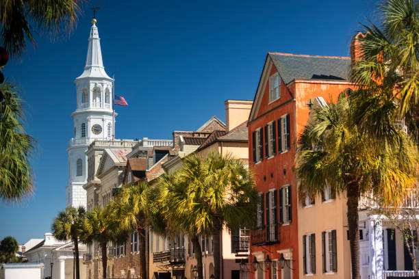 Charleston South Carolina downtown business district stock photo