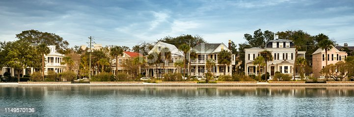 Charleston South Carolina row of houses across Colonial Lake USA