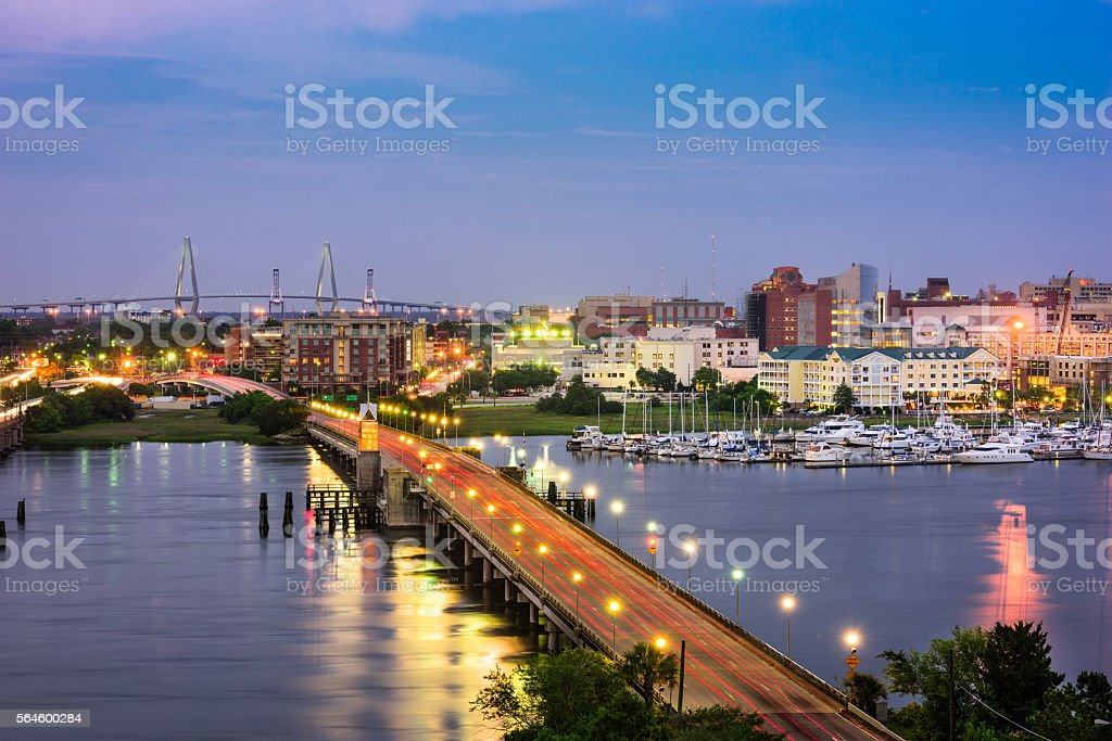 Charleston, South Carolina Charleston, South Carolina, USA skyline over the Ashley River. Architecture Stock Photo