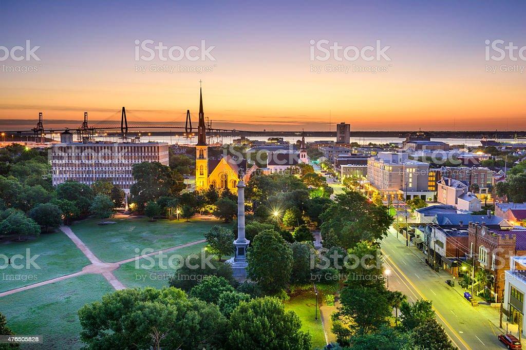 Charleston, South Carolina Skyline Charleston, South Carolina, USA skyline over Marion Square. 2015 Stock Photo
