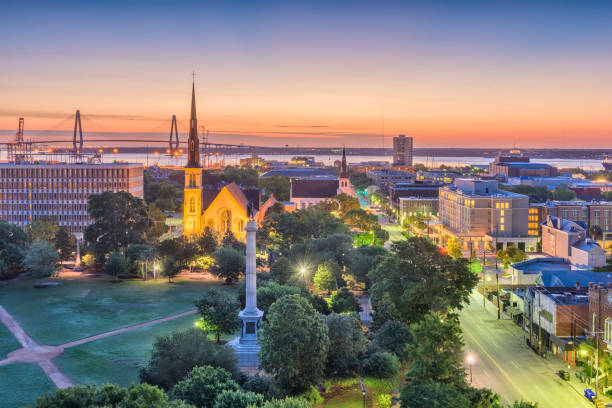 Charleston, South Carolina, USA Cityscape Charleston, South Carolina, USA skyline over Marion Square. south carolina stock pictures, royalty-free photos & images