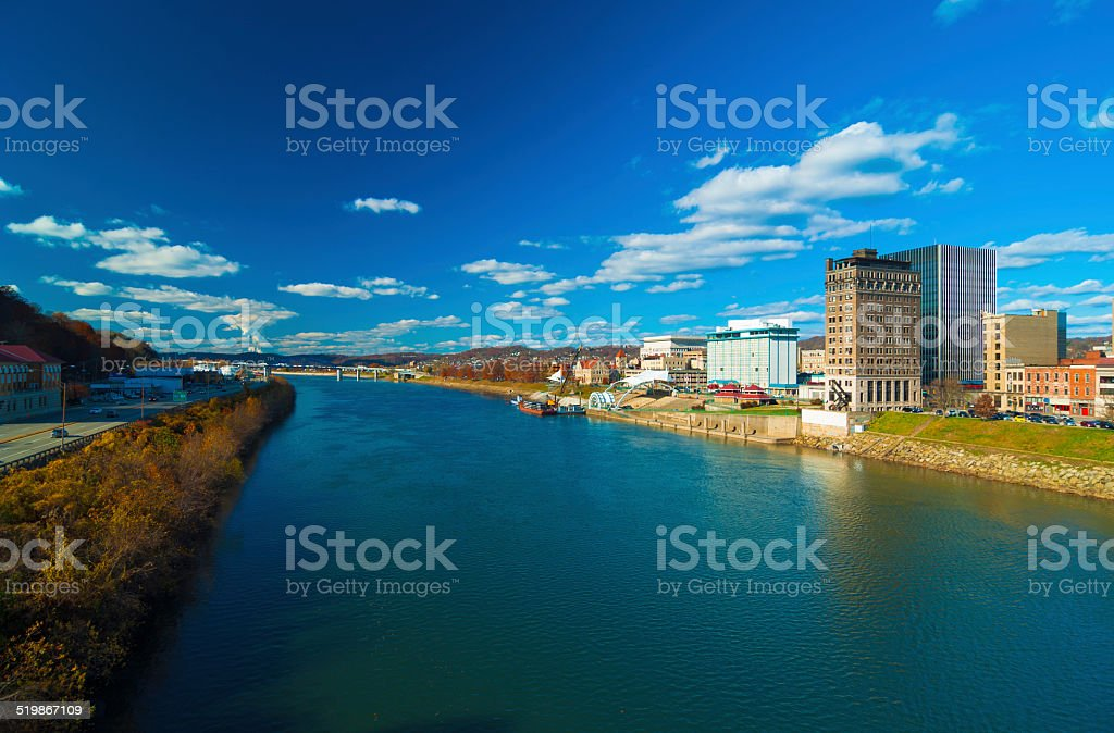Charleston, West Virginia skyline and river during Autumn stock photo