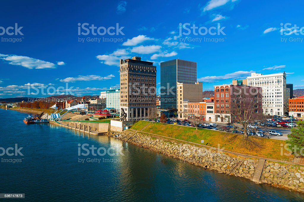 Charleston, West Virginia skyline and river stock photo