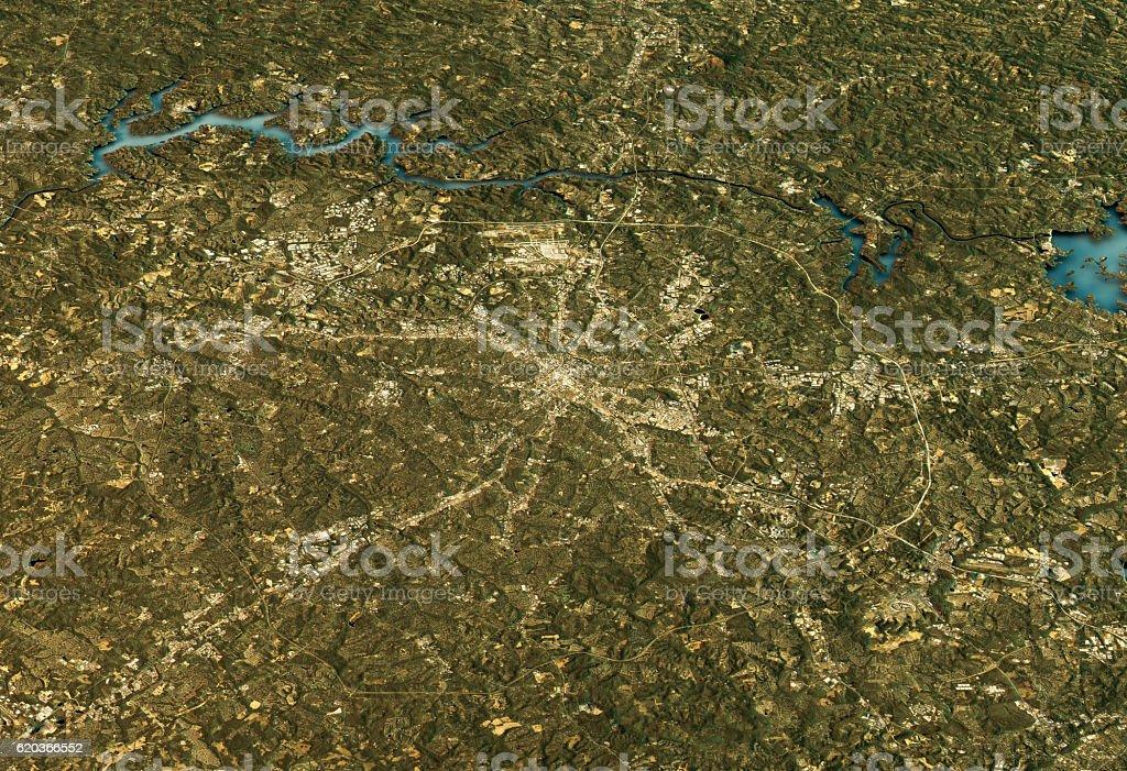 Charlotte 3D Landscape View East-West Natural Color foto de stock royalty-free
