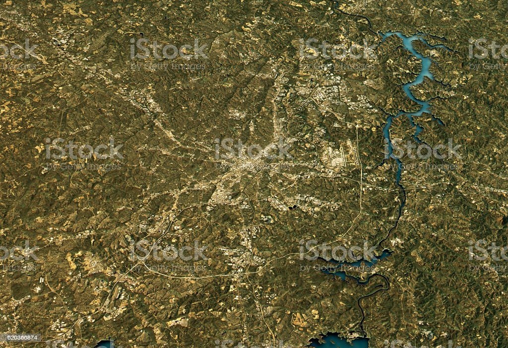 Charlotte 3D Landscape View North-South Natural Color foto de stock royalty-free