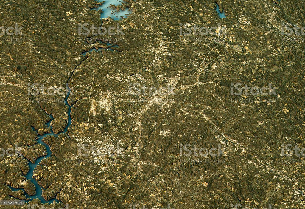 Charlotte 3D Landscape View South-North Natural Color foto de stock royalty-free