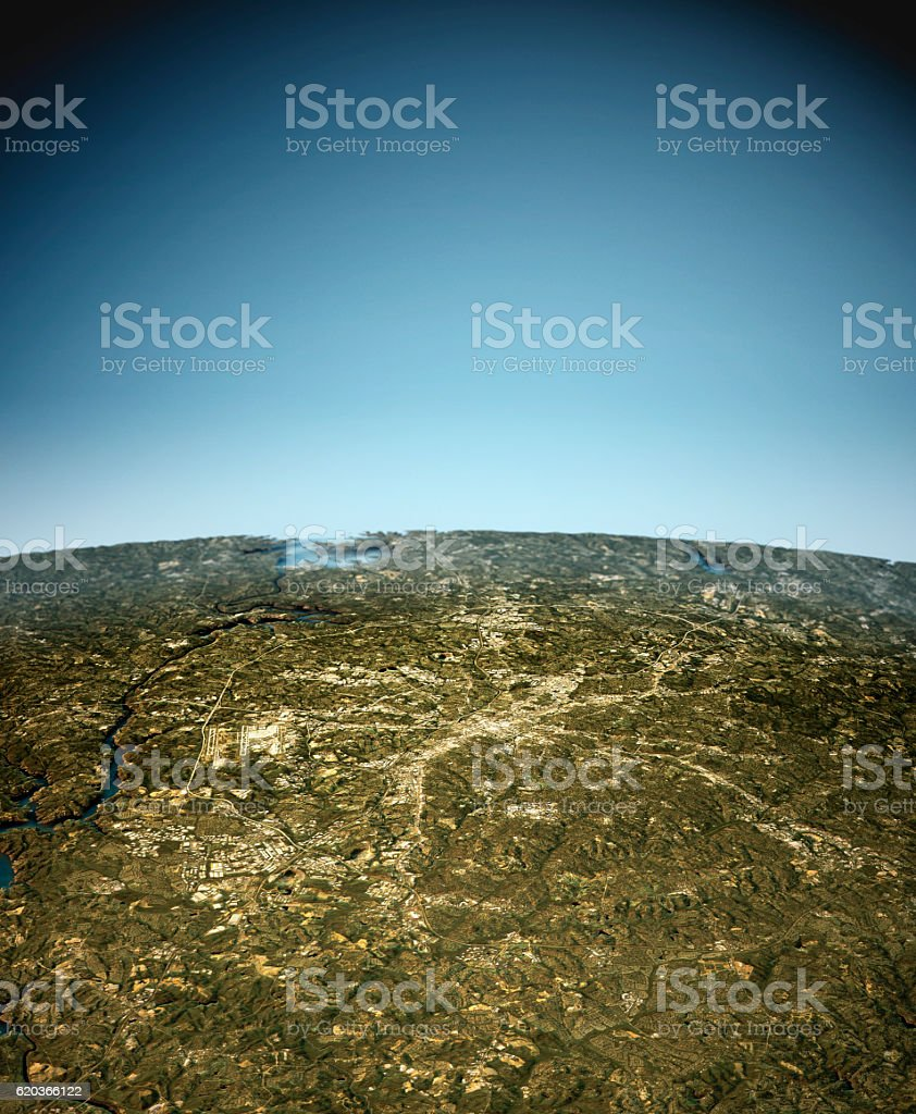 Charlotte 3D View South-North Natural Color foto de stock royalty-free
