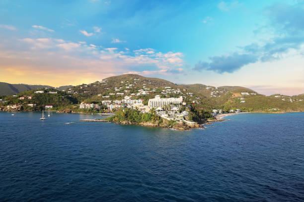 Charlotte Amalie at sunset stock photo