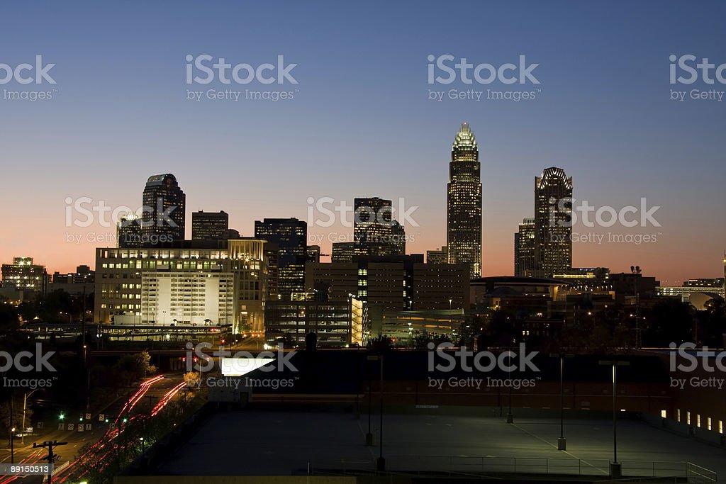 Charlotte City Skyline at Night royalty-free stock photo