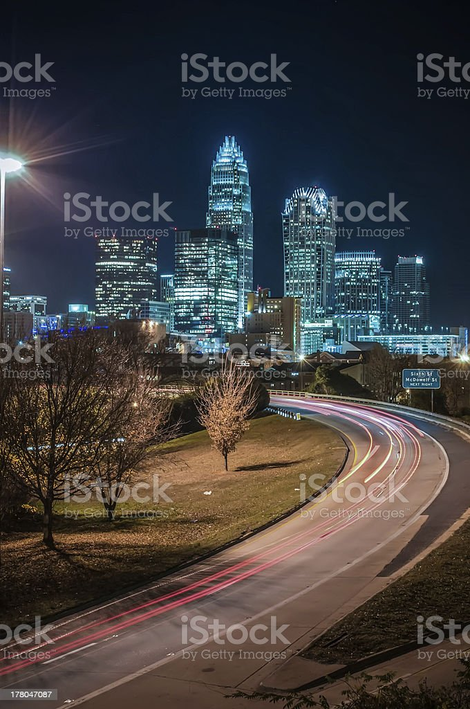 Charlotte City Skyline night scene stock photo