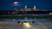 A beautiful picture of Charlotte's airport after the sun had set.