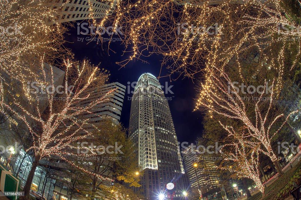 charlotte nc christmas lights royalty free stock photo