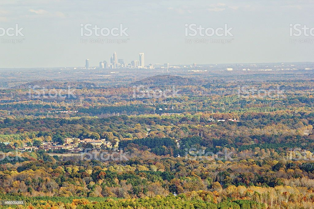Charlotte North Carolina Skyline from Crowders Mountain stock photo