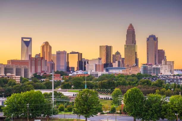 Charlotte, North Carolina, USA Skyline stock photo