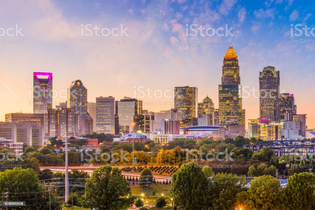 Charlotte, North Carolina, USA Skyline stock photo
