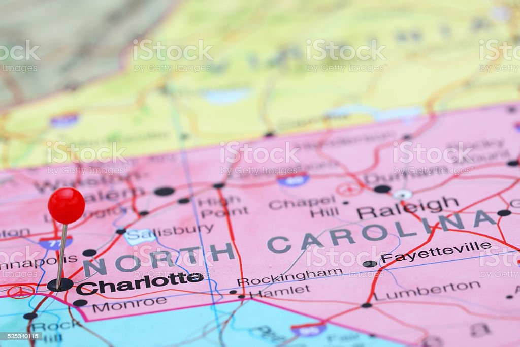 Charlotte Pinned On A Map Of Usa Stock Photo IStock - Charlotte usa map