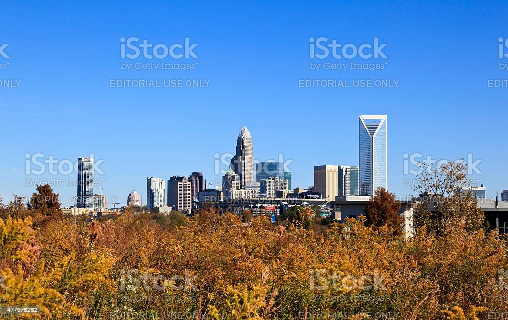 Charlotte Skyline in the Fall stock photo