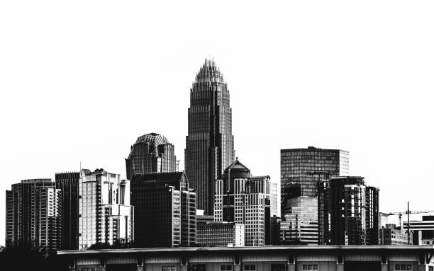 charlotte skyline. - high contrast stock pictures, royalty-free photos & images