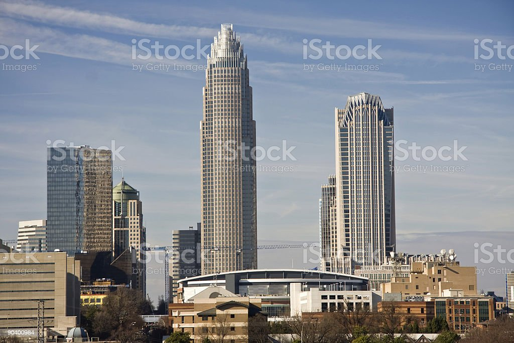Charlotte Towers and Bobcats Arena stock photo