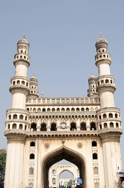 Charminar tower, Hyderabad The landmark Charminar tower, most famous landmark in Hyderabad, Andhra Pradesh.  The Islamic structure has dominated the south of the city for centuries. char minar stock pictures, royalty-free photos & images