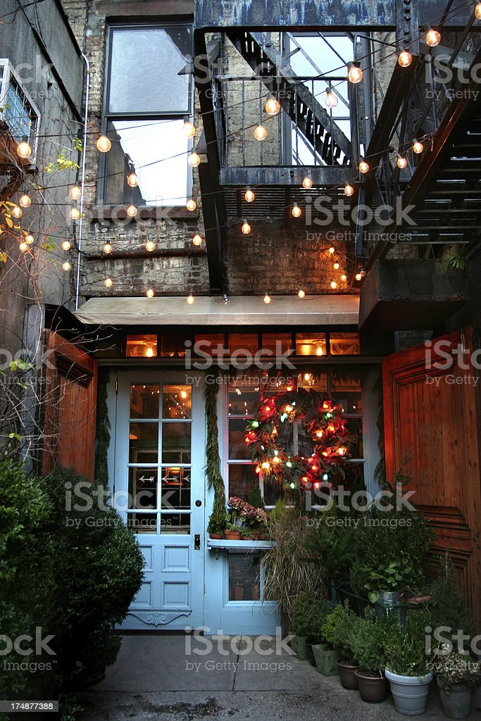 charming alley restaurant stock photo