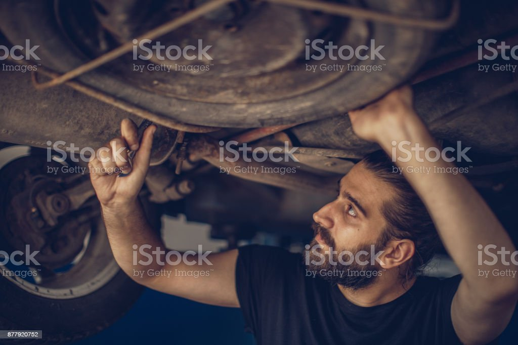 Charming auto mechanic stock photo