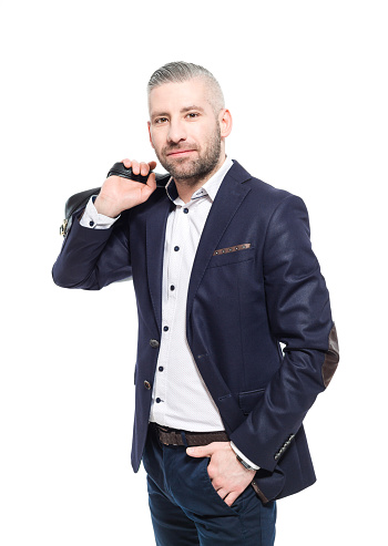 Charming Bearded Grey Hair Businessman Holding Bag Stock Photo - Download Image Now