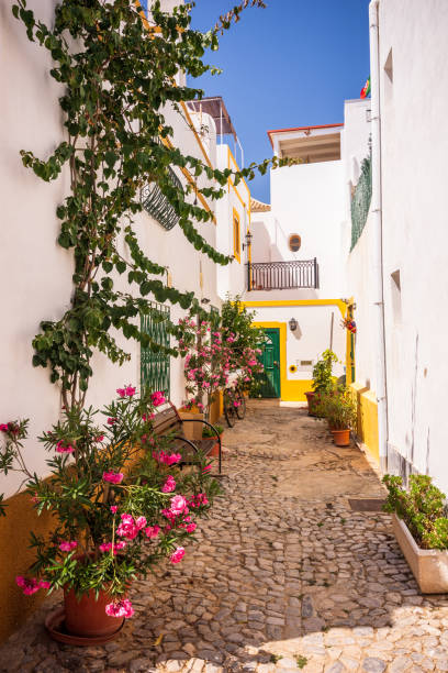 Charming cobblestone street in the whitewashed town of Tavira, Portugal stock photo