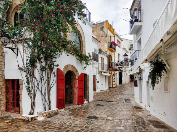Charming empty cobblestone street of old town of Ibiza. Spain Charming empty cobblestone white-washed street of old town of Ibiza (Eivissa), Balearic Islands. Spain ibiza island stock pictures, royalty-free photos & images