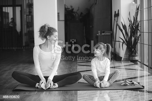 istock Charming family spends time in the gym 468450620